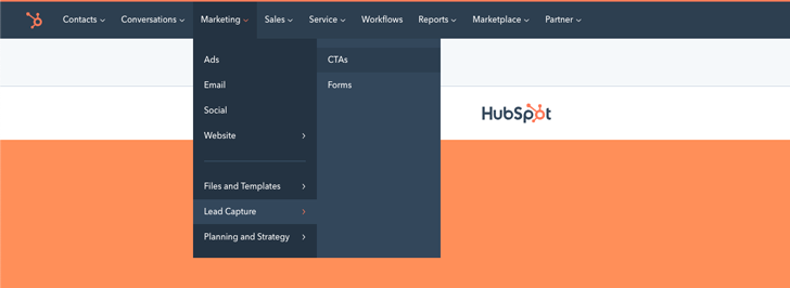 How to find HubSpot CTAs page