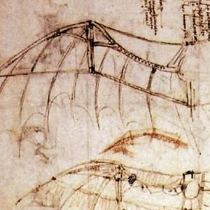 Detail from Leonardo Da Vinci's notebooks - drawing of an ornithopter wing