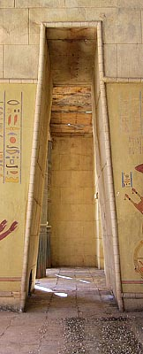 Tall Egyptian doorway cropped to thin vertical shape