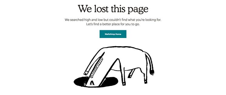 Mailchimp 404 humour